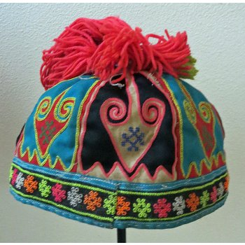 Hmong Child's hat This childs hat is from the Hmong hill tribe group in Laos  This  hat is made from applique fabrics neatly stitched by hand with button hole stitching  . Please Click the image for more information.