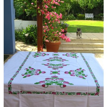 Lotus table cloth in pink and green - square  Please Click the image for more information.