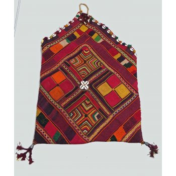 Indian Banjara Dowry Bag This dowry bag is in  traditional Banjara  style and  has a lovely vibrancy  The design skillfully incorporates a deep palate of colours   burgundy light yellow grass green and orange cotton on a base of hand loomed red cotton fabric  Th. Please Click the image for more information.