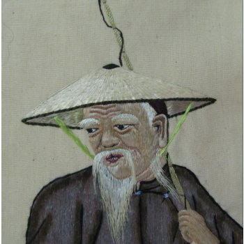 The Fisherman - Silk embroidery early 1900's This extremely fine embroidery of a Fisherman iis worked in silk on a cotton ground fabric The embroidery has three dimensional elements in the stitching . Please Click the image for more information.